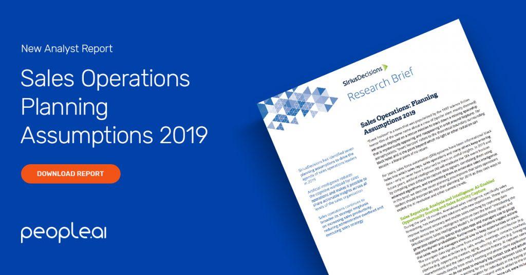 Sales Operations Planning Assumptions 2019